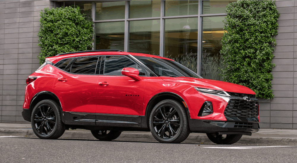 Red 2019 Chevy Blazer on the street