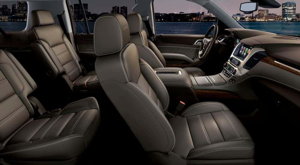 The interior of a 2020 GMC Yukon is shown.