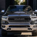 A grey 2020 Ram 1500's front grille, which is what the 2021 Ram Dakota's front grille may look like, is shown.