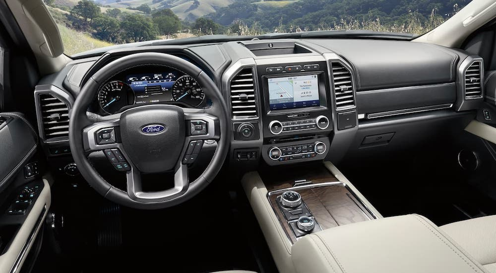 The gray interior of a 2020 Ford Expedition is shown, winner of the 2020 Ford Expedition vs 2020 Chevy Tahoe competition.