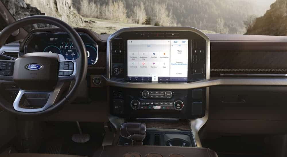 The infotainment screen in a 2021 Ford F-150 is shown.
