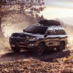 A black 2021 Toyota Land Cruiser is driving on a dirt trail past a tree.