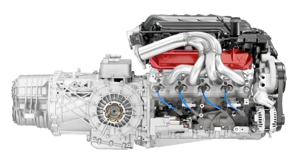 The Chevy Corvette V8 LT2 engine is shown from the side.